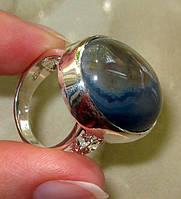 Стильное женское кольцо с натуральным агатом р.18,5