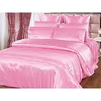 Атласный полуторный, двуспальный, евро, семейный постельный комплект, розовый