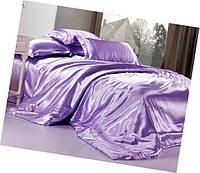 Атласный полуторный, двуспальный, евро, семейный постельный комплект, светло-сиреневый