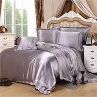 Атласный полуторный, двуспальный, евро, семейный постельный комплект, серебряный