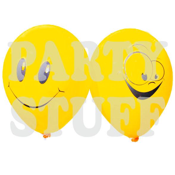 шарики с рисунком смайлика  желтые 19 дюймов