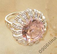 Кольцо с розовым топазом р.17,5