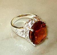 Кольцо с коньячным цитрином р.17,5