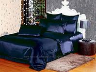 Атласный полуторный, двуспальный, евро, семейный постельный комплект, темно-синий