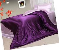 Атласный полуторный, двуспальный, евро, семейный постельный комплект, фиолетовый