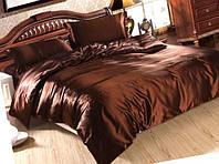 Атласный полуторный, двуспальный, евро, семейный постельный комплект, шоколадный