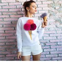 """Свитшот """"мороженое"""" из мягенького трикотажа, с ручной росписью по ткани"""