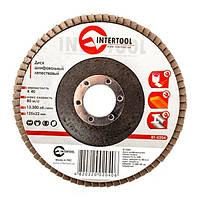 Диск шлифовальный лепестковый 125x22 мм, зерно K40 INTERTOOL BT-0204, фото 1