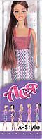 А-Стиль, Набор с куклой 28 см, шатенка в платье с принтом, Ася (35054)