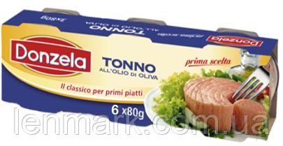 Тунец в оливковом масле Donzela Tonno all'olio di semi, (6x80 г) 480 г