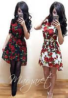 Платье женское из шифона юбка ассиметрия принт розы