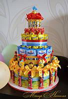 Угощения для детей на день рождение. Торты из Барни и соков.