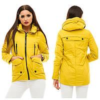 Женская демисезонная теплая куртка водоотталкивающая плащевка, на синтепоне, цвет желтый