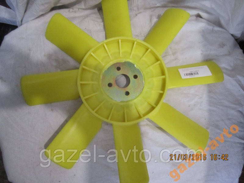 Вентилятор системы охлаждения Газель 8 лопаст желтый с метал основанием