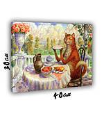 Картина на холсте 30х40см Котячье чаепитее
