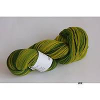 Цветная пряжа для вязания Кауни Green-yellow 800 Для рукоделия натуральная шерстяная пряжа