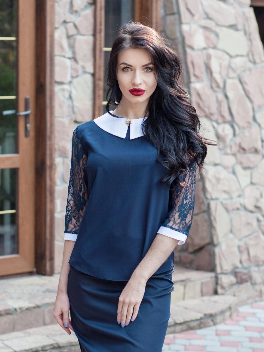 Женская нарядная блуза темноминего цвета