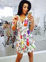 Платье женское летнее из креп-шифона с модным принтом