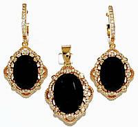 """Набор ХР """"кулон и серьги """"Цвет:позолота; Камни:чёрный циркон и  белые фианиты.Диаметр: с-1,5 см  к-2 см"""