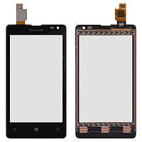 Touchscreen (сенсорный экран) для Microsoft (Nokia) Lumia 532 (RM-1069), черный, оригинал