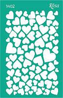 """Трафарет многоразовый самоклеющийся, Фоновый 13*20 см, №1402, Серия """"Влюбленные сердца"""""""