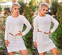 Платье вязанное с поясом р 3810 гл