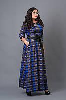 Платье женское мод 487-5 ,размер 50,52,54 клетка синяя (А.Н.Г.)