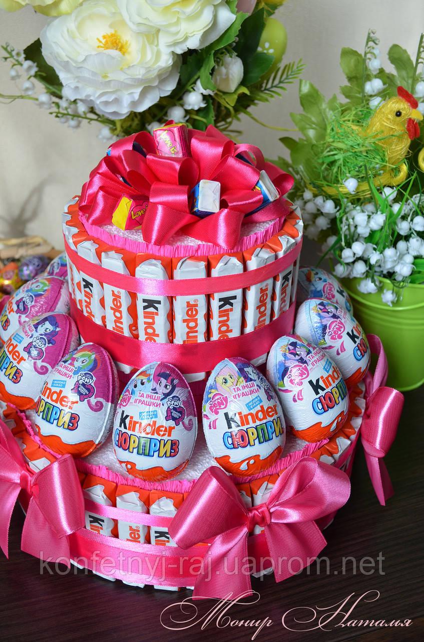 Торт из Киндер шоколадок и яиц для девочки принцессы - фото 2