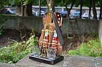 Скрипка - подставка под бутылку, 2 бутылки + 2 рюмки, дер-22