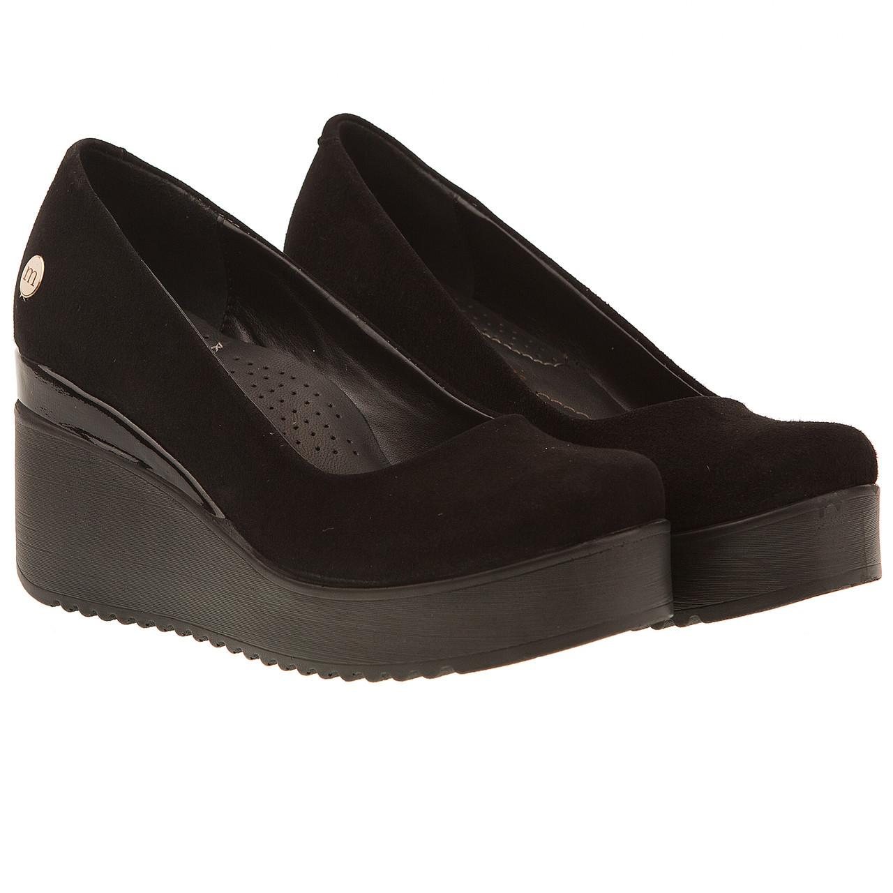 9631423de Туфли женские Mammamia (черные, замшевые, на удобной танкетке, модные,  комфортные)