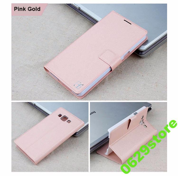 Чехол Samsung A300 / A3 2015 книжка Flower Ultrathin розовое золото