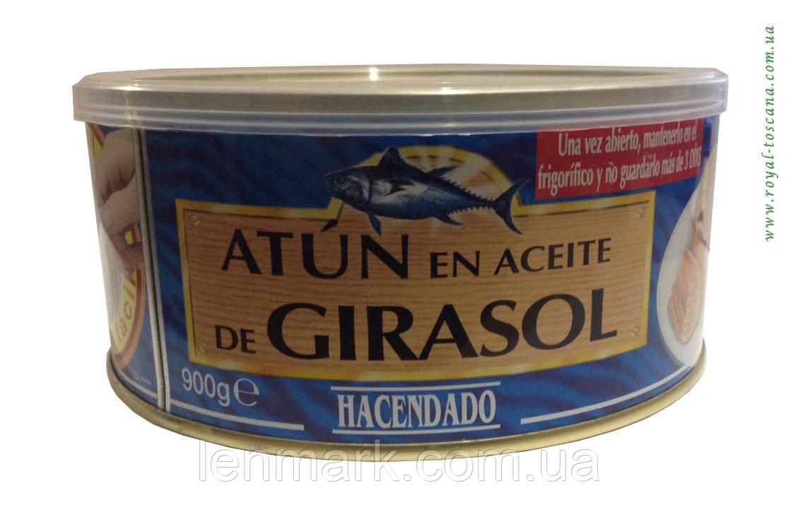Тунец в подсолнечном масле Hacendado Atun claro en aceite de girasol 900 г