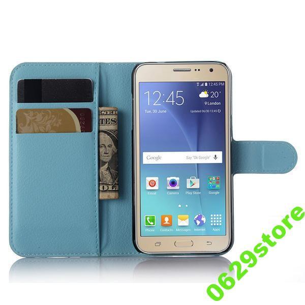 Чехол Samsung J200 / J2 книжка PU-Кожа голубой