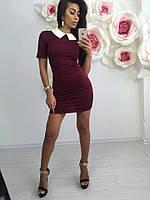 Платье женское из трикотажа узкое воротник рубашка