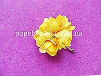 Троянда тканинна 4 см на дротику жовта