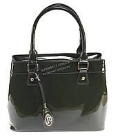 Каркасная лаковая женская сумка темно зеленого цвета art.95001