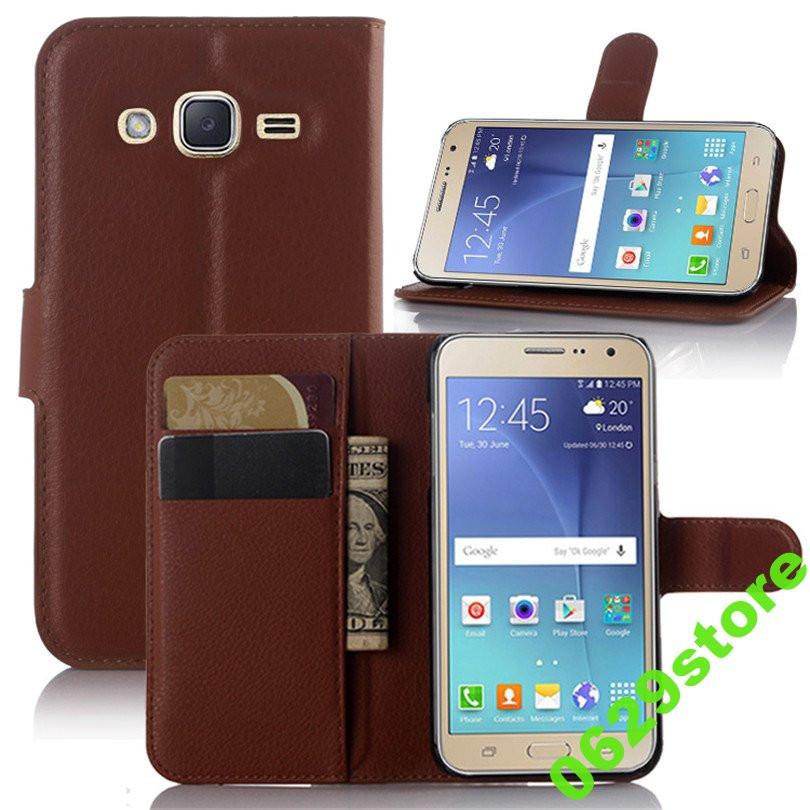 Чехол Samsung J320 / J300 / J3 / J3 2016 книжка PU-Кожа коричневый