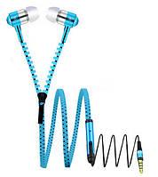 Гарнитура, наушники стерео с металлическими наушниками в виде молнии 3.5мм Синяя SKU0000267, фото 1