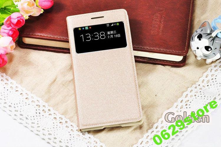 Чехол Samsung G7102 / Grand 2 книжка с окном S-VIEW золотой