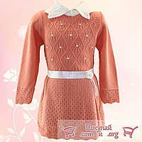 Вязанное платье с бусинками для девочки от 2 до 6 лет (4718-3)