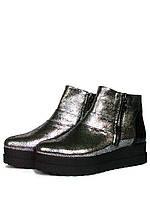 Серебристые ботинки на платформе