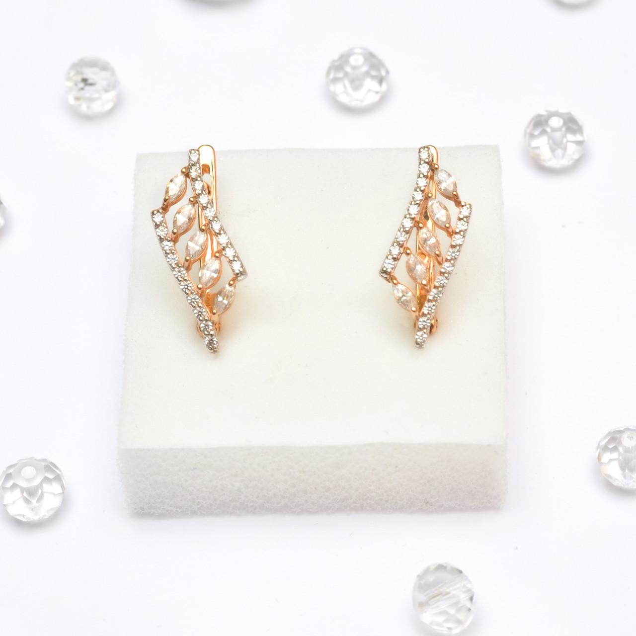 Золотые серьги с цирконием 106461