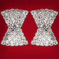[25x20 мм] Клипсы женские белые стразы светлый металл свадебные вечерние (пуссеты) ромб с зокругленными концами крупные