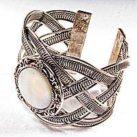 [6,5 см] Браслет Перламутр широкий скобка металл ажурная оправа круглая, фото 1
