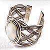 [6,5 см] Браслет Перламутр широкий скобка металл оправа классическая овальная
