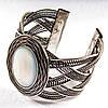 [6,5 см] Браслет Перламутр широкий скобка металл оправа гнездо овальная
