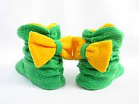 Тапочки сапожки домашние флисовые зеленые с желтым бантом
