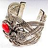 [6,5 см] Браслет Коралл широкий скобка  металл паук держащий камень со стразами