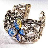 [6,5 см] Браслет Лунный камень широкий скобка  металл Бабочка и цветы ажурные со стразами