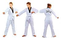 Кимоно теквондо (добок-рубашка)белое MATSA MA-0018(х-б,р-р(140-190 см),вес 0,8 кг.)